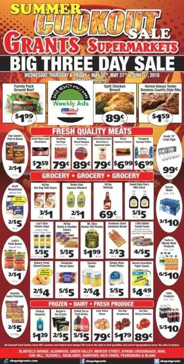 grant's 3 day sale May 30 - 31 and June 1 2018 Summer Cookout