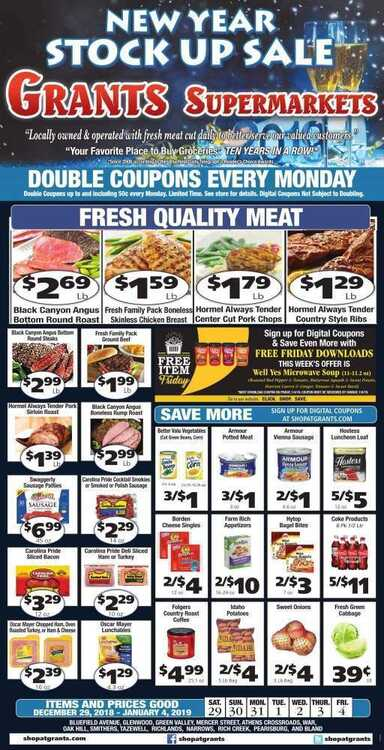 grants market weekly ad 1/1 to 1/4 2019 New Year Stock UP Sale